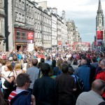 Crowds gather on the Royal Mile
