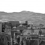 View from National Museum of Scotland towards the Pentlands