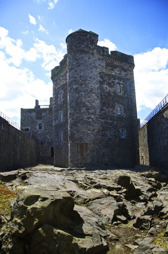 The rocky courtyard at Blackness Castle