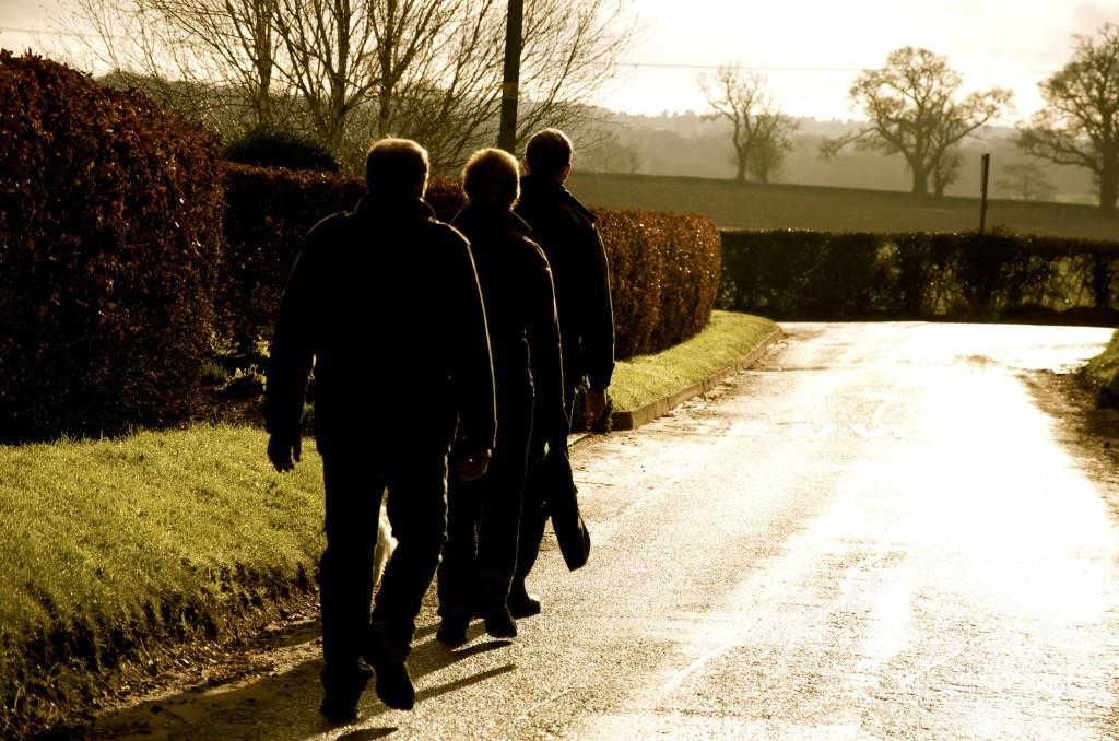 Family walking towards Moreton